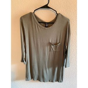 Rue21 Olive Green Pocket Tee 3/4 sleeve- size M